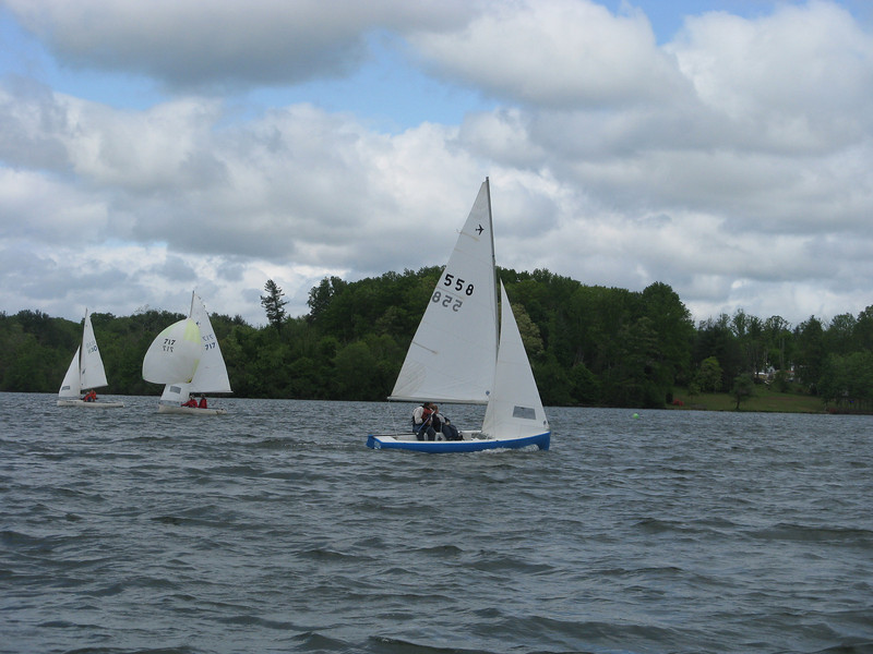 Barbehenn/Hennon come in for another bullet.  They would win all of the races they sailed in the heavier air on Sunday.