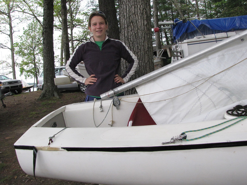 Julie Brockman is ready to race in 1130.  The damage on the starboard side was due to an unfortunate collision with a Flying Scot the previous week.