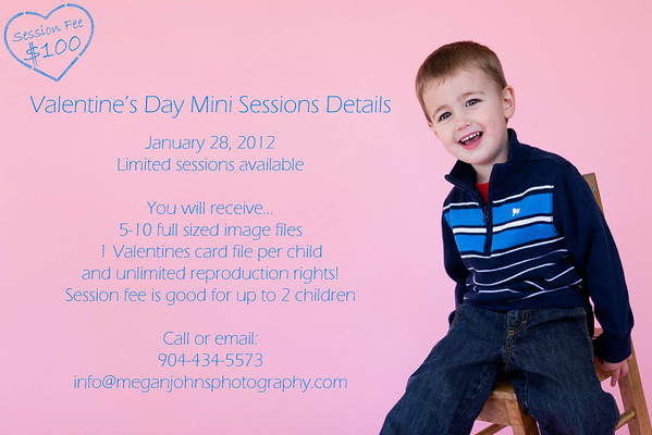 Valentine's Mini Session DetailsDate: January 28, 2012 Session Fee: $100 for up to 2 children You will recieve: 5-10 full sized image files 1 valentine card file per child Unlimited reproduction rights Contact MeEmail:  info@meganjohnsphotography.com Phone: (904) 434-5573