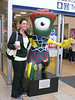Megan with Olympic Mascot in Queen Street Station