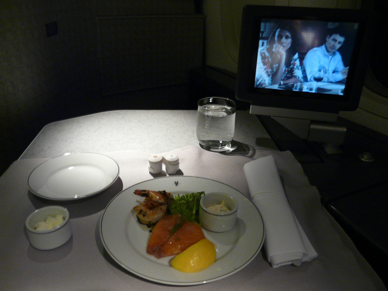 smoked salmon and herb marinated shrimp on 777 first class double tray