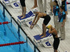 Natalie Coughlin on the starting block for her relay event