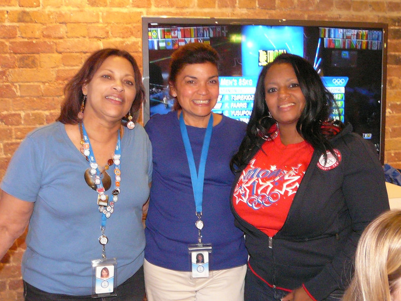 Zennie with Olympic Gold Medalist Gabby Douglas's grandmother ,on left and mother, on right (Gold in all around Gymnastics)