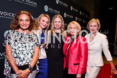 Diane von Furstenberg, Alyse Nelson, Chelsea Clinton, Melanne Verveer, Tina Brown. 2012 Vital Voices Global Leadership Awards. Photo by Tony Powell. Kennedy Center. June 6, 2012