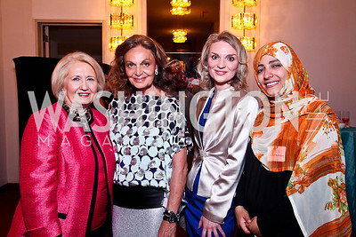 Melanne Verveer, Diane von Furstenberg, Alyce Nelson, 2011 Nobel Peace Prize recipient Tawakkol Kamran. 2012 Vital Voices Global Leadership Awards. Photo by Tony Powell. Kennedy Center. June 6, 2012