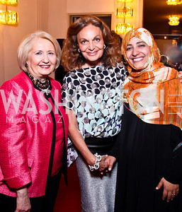 Melanne Verveer, Diane von Furstenberg, 2011 Nobel Peace Prize recipient Tawakkol Kamran. 2012 Vital Voices Global Leadership Awards. Photo by Tony Powell. Kennedy Center. June 6, 2012