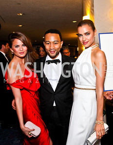 Chrissy Teigen, John Legend, Irina Shayk. White House Correspondents Dinner Pre-parties. Photo by Tony Powell. Hilton Hotel. April 28, 2012