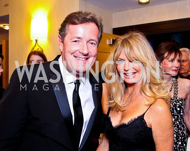 Piers Morgan, Goldie Hawn. White House Correspondents Dinner Pre-parties. Photo by Tony Powell. Hilton Hotel. April 28, 2012