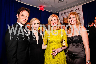 Stephen Moyer and Anna Paquin, Arianna Huffington, Katharine Weymouth. White House Correspondents Dinner Pre-parties. Photo by Tony Powell. Hilton Hotel. April 28, 2012
