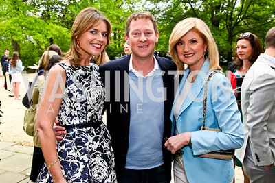 Savannah Guthrie, Mike Feldman, Arianna Huffington. 2012 Tammy Haddad WHCD Garden Brunch. Photo by Tony Powell. Beall-Washington House. April 28, 2012