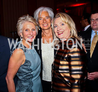 Jane Harman, Christine Lagarde, Hillary Clinton. 2012 Woodrow Wilson Award for Public Service. Photo by Tony Powell. Four Seasons. April 26, 2012