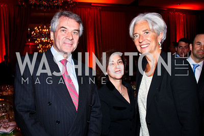 British Amb. Peter Westmacott, Susie Nemazee, Christine Lagarde. 2012 Woodrow Wilson Award for Public Service. Photo by Tony Powell. Four Seasons. April 26, 2012