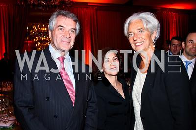 British Amb. Peter Westmacott, Susie Nemazee, Christine Lagarde. 2012 Woodrow Wilson Award for Public Service. Photo by Tony Powell. Four Seasons. April 26, 2012