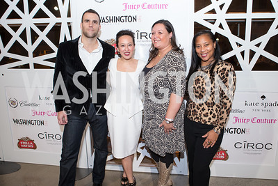 Marc Bacigalupo, Patty Wu Bacigalupo, Cami Mazard, Montina Anderson Davis. 7th Annual Young and the Guest List. Photo by Alfredo Flores. Arena Stage. December 17, 2012
