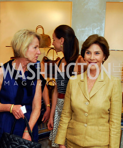 Cathy Jones, Laura Bush, A Presentation of Fall 2012 Oscar de la Renta Benefiting Global Health Corps at Saks Jandel, May 4, 2012, Kyle Samperton