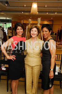 Monika Samtani, Laura Bush, Andrea Roane, Presentation of Fall 2012 Oscar de la Renta Benefiting Global Health Corps at Saks Jandel, May 4, 2012, Kyle Samperton