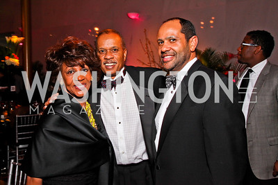 Congresswoman Maxine Waters, Juan Williams, Gala Co-Chair Chris Cowan. Alvin Ailey Gala. February 7, 2012. Photo by Tony Powell