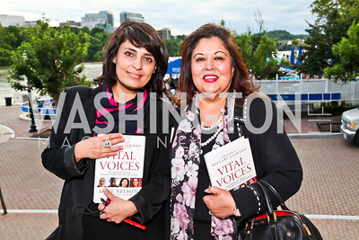 Samar Minallah Khan, Shaista Mahmood. Alyse Nelson Vital Voices Book Party. Photo by Tony Powell. House of Sweden. June 5, 2012