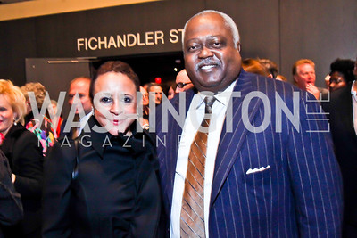 "Sheila Johnson and William Newman. Photo by Tony Powell. Opening Night of ""My Fair Lady."" Arena Stage. November 15, 2012"