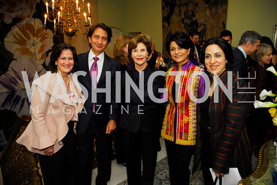 Anita McBride,Said Jawad,Laura Bush,Shamin Jawad,Sultana Hakimi,February 24,2012,Aschiana Gala at the Residence of the Ambassador of the Netherlands,Kyle Samperton