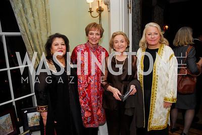 Shaista Mahmood,Mary Jo Myers,Caroline Firestone,Margaret Rogers,February 24,2012,Aschiana Gala at the Residence of the Ambassador of the Netherlands,Kyle Samperton