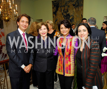 Said Jawad,Laura Bush,Shamin Jawad,Sultana Hakimi,,February 24,2012,Aschiana Gala at the Residence of the Ambassador of the Netherlands,Kyle Samperton