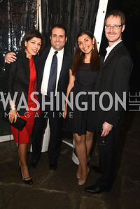 Tina Amirir, Jarrett Blanc, Shamila Chaudhary, Chris Steinitz, Ashley Bommer and Vikram Singh celebrate with friends at the home of Vali and Darya Nasr. Photo by Ben Droz.