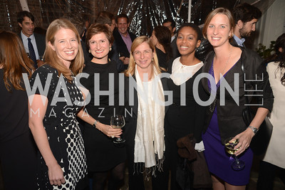 Rebecca Kahl, Cara Abercrombie, Christel Fonzo, Bailey Hand, Wendy Reid,  Ashley Bommer and Vikram Singh celebrate with friends at the home of Vali and Darya Nasr. Photo by Ben Droz.