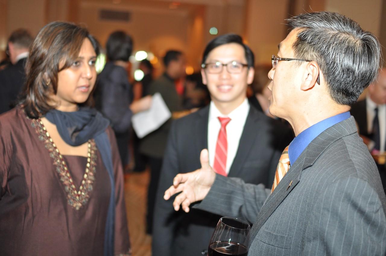 R-L Edwin Tan, Tan Weiming, Alpana Roy,  Asia Society Awards Dinner, at the Mandarin Oriental, Tuesday, June 19th, 2012.  Photo by Ben Droz