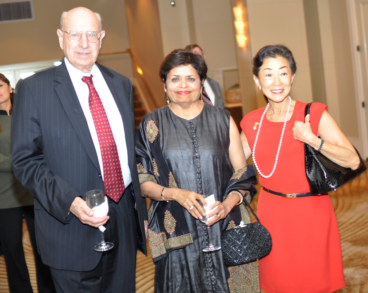 Thomas Pickering, Vishakha Desai, Lulu Wang, Asia Society Awards Dinner, at the Mandarin Oriental, Tuesday, June 19th, 2012.  Photo by Ben Droz