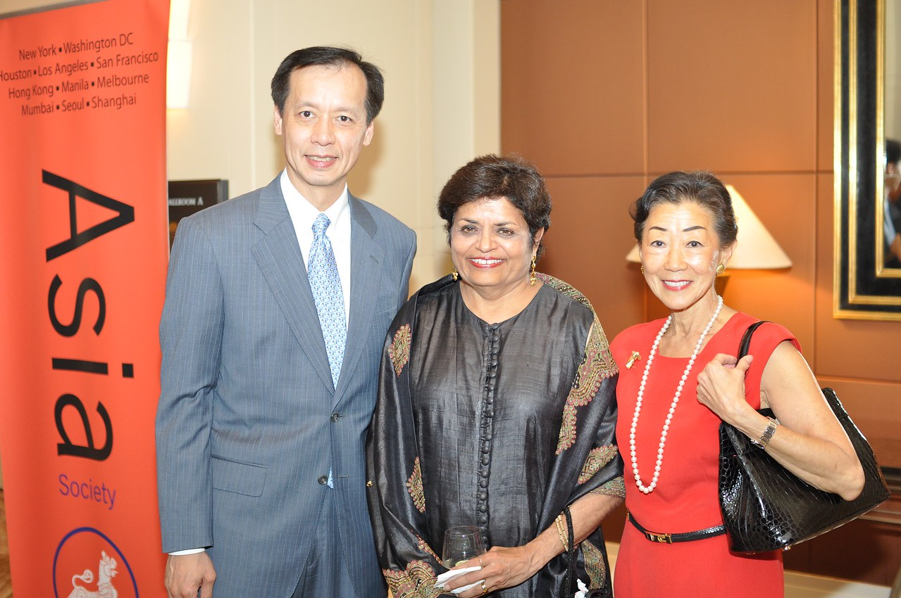 Ben W, Vishakha Desai, Lulu Wang, Asia Society Awards Dinner, at the Mandarin Oriental, Tuesday, June 19th, 2012.  Photo by Ben Droz