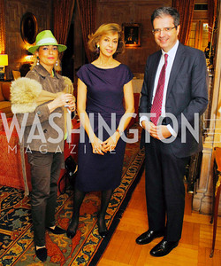 "Aniela Vilgrain,Caroline De Margerie, French Amb.Francois Delattre,November 8,2012,book party  for ''American Lady"" at the Residence of the French Ambassador,Kyle Samperton"