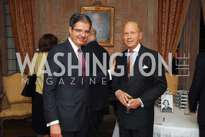 "French Amb.Francois Delattre, John Irelan,November 8,2012,book party  for ''American Lady"" at the Residence of the French Ambassador,Kyle  Samperton"