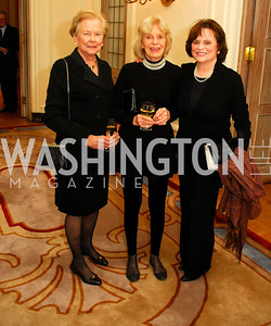 "Lucy Moorehead,Kay Evans,Liz Stevens,November 8,2012,book party  for ''American Lady"" at the Residence of the French Ambassador,Kyle Samperton"