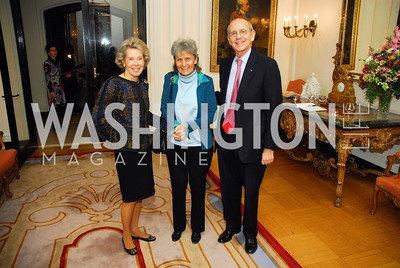 "Bobbie Brewster,Joanna Breyer,Justice Stephen Breyer,November 8,2012,book party  for ''American Lady"" at the Residence of the French Ambassador,Kyle Samperton"