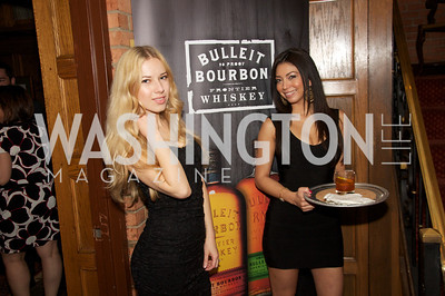 Kristina Hogen, Kriscia Palacios. Tom Bulleit, founder of Bulleit Bourbon, hosts a tasting party at the Georgetown Club.  Photo by Ben Droz.
