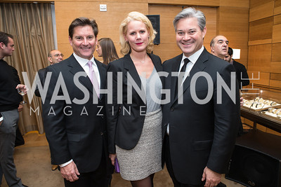 Joe Ruzzo, Adelaide Thomas, Mark Lowham. Cartier 30 Years in Washington Private Cocktail Reception. Photo by Alfredo Flores. Cartier Chevy Chase. November 14, 2012