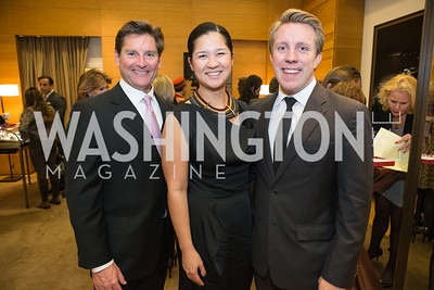 Joe Ruzzo, Trish Yan, A. Bradley Nelson. Cartier 30 Years in Washington Private Cocktail Reception. Photo by Alfredo Flores. Cartier Chevy Chase. November 14, 2012