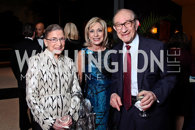 Justice Ruth Bader Ginsburg, Andrea Mitchell and Alan Greenspan. Viva la Musica Gala. Photo by Tony Powell. Italian Embassy. May 19, 2012