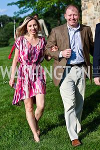 Valeria Adelshina, Dennis McCarthy. CharityWorks 100 Point Vintage Wine Tasting. Photo by Tony Powell. Brickman residence. June 2, 2012