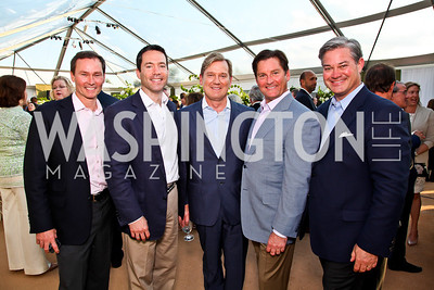 Michael Rankin, Mark Green, Mark McFadden, Joe Ruzzo, Mark Lowham. CharityWorks 100 Point Vintage Wine Tasting. Photo by Tony Powell. Brickman residence. June 2, 2012