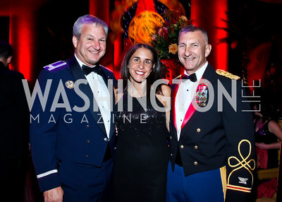 Colonel Doug and Tish Stropes, Colonel Mike Cabrey. Photo by Tony Powell. 2012 CharityWorks Dream Ball. Building Museum. September 29, 2012