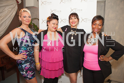 Dominique Hatcher, Angela Ramos, Jessica Zamora, Kimmie Brickus. Circe of Alexandria, Grand Re-Opening Pink & Pink & Green Soiree. Photo by Alfredo Flores. Circe of Alexandria. June 12, 2012