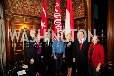 Clyde Tuggle ,Fugen Tan,Turkish Amb.Namik Tan, Dean Kamen,Ellen Noughes,Monaco Ambassador Gilles Noughes,Bea Perez,December 5,2012,Clean Water to Communities Reception at The Residence of The Turkish Ambassador
