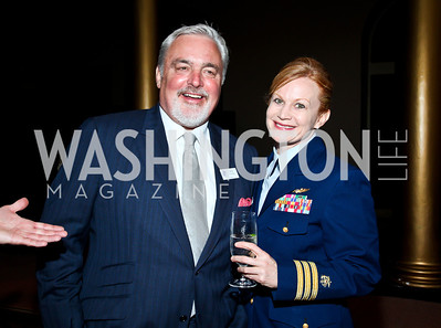 Coast Guard Foundation Chairman Robert Flynn, CDR Dana Thomas. Eighth Annual Tribute to the United States Coast Guard. Photo by Tony Powell. Building Museum. June 12, 2012