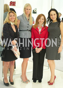 Evangelia Lilly Papaioannou, Jana Morettini, Evi Xekouki, Janaina Lerbach.  Dior and Elle had a cocktail party, hosted by Linda and Jill Daschle, to support N Street Village.  May 10, 2012.  Photo by Ben Droz
