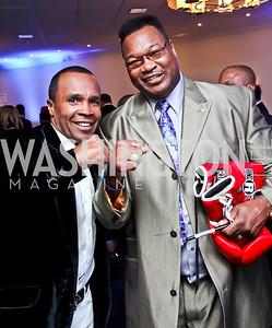 Boxers Sugar Ray Leonard, Larry Holmes. Photo by Tony Powell. Fight Night. Hilton Hotel. November 1, 2012