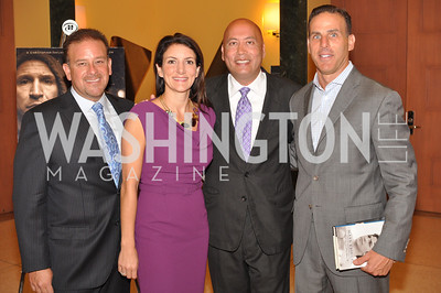 """Raul Fernandez, Jodi Bond, Jimmy Lynn, J.T. Taylor Fight For Children's kickoff for Fight Night at the Italian Embassy.  Premier of the documentary """"The Good Son"""", tells the story of Ray 'Boom Boom' Mancini.  Photo by Ben Droz"""