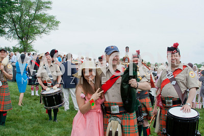 Layne Mostyn with bagpipers