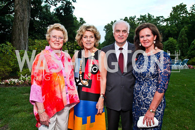 Marjorie Merriweather Post's grand-daughter Elllen Charles, artist Isabelle de Borchgrave, Belgian Amb. Jan Matthysen and Agnes Aerts. Prêt-à-Papier Opening Gala. Photo by Tony Powell. June 14, 2012